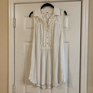 Free people tunic dress ivory sleeveless lace